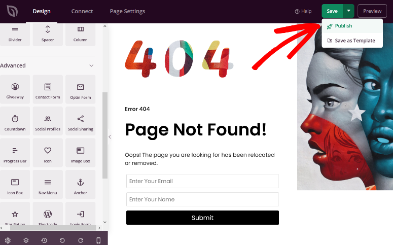 publish the 404 error page