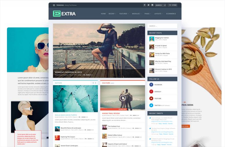 Extra theme, wordpress theme for graphic designers