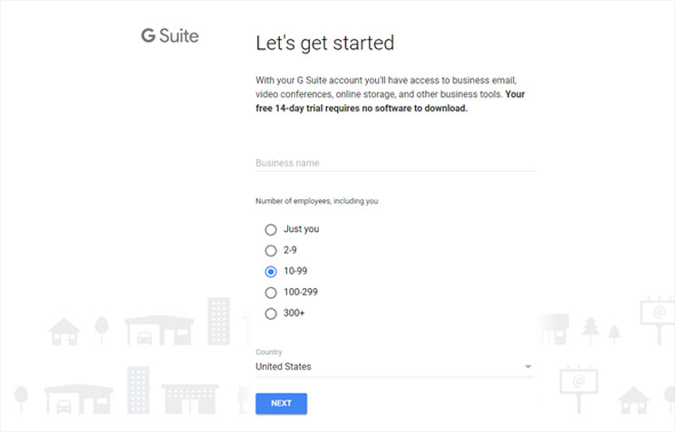 signing up for GSuite