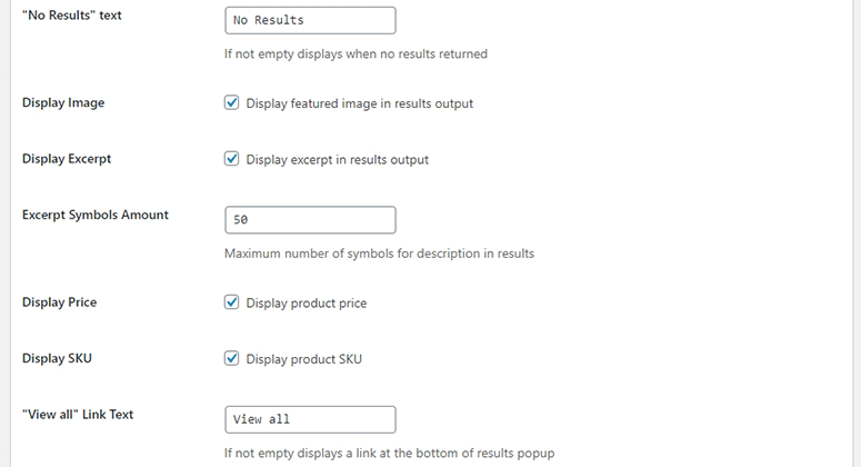 Product search settings