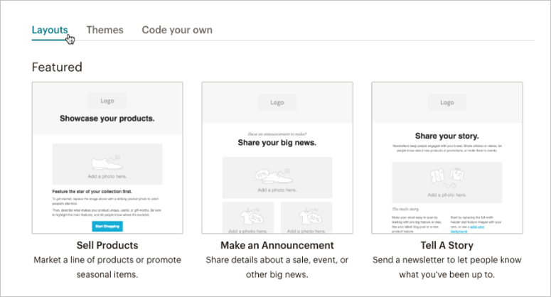 Mailchimp layouts