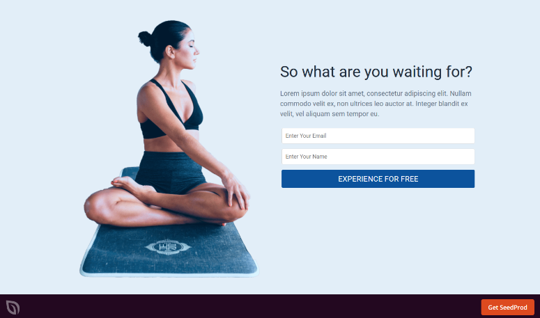 seedprod yoga template