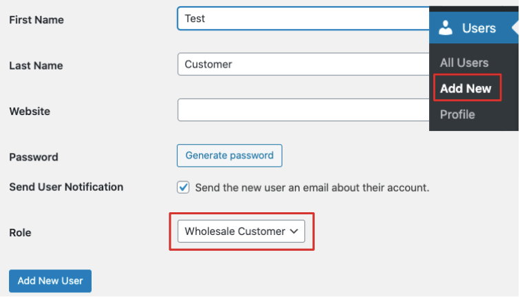 Add wholesale customer user role