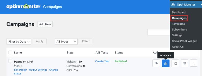 Analytics in OptinMonster