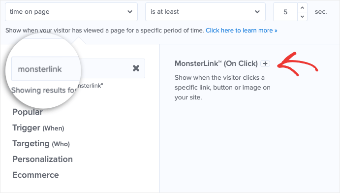 click monsterlink in display rules-min