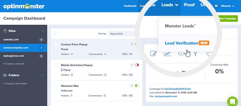 Lead verification