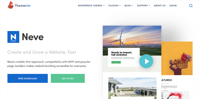 neve wordpress hotel theme homepage