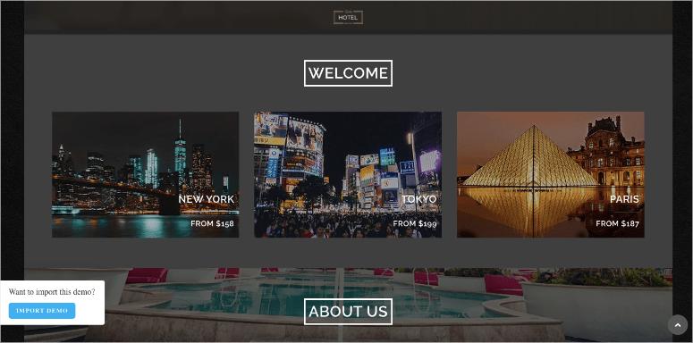 oceanwp wordpress hotel theme demo site