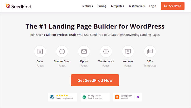 SeedProd landing page builder for WordPress