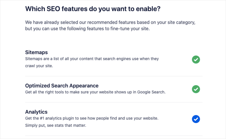 seo features in aioseo