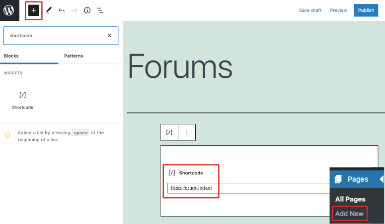 add forum shortcode block editor