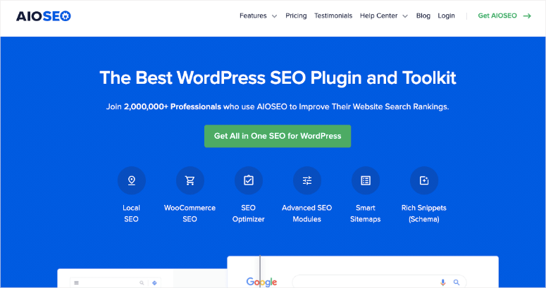 aioseo plugin homepage