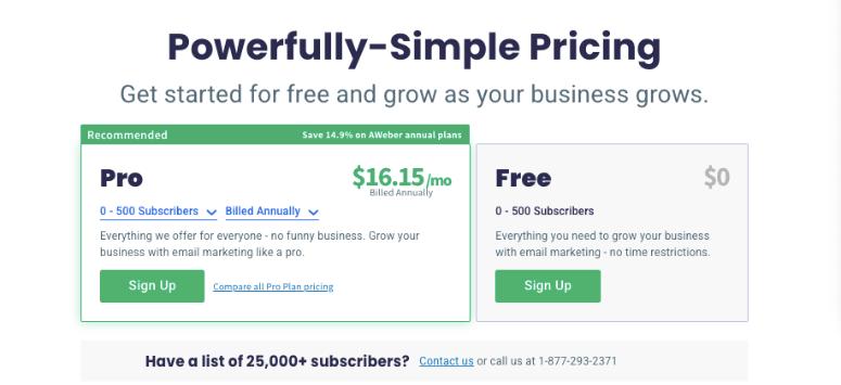 aweber pricing page