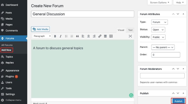 create new forum bbpress