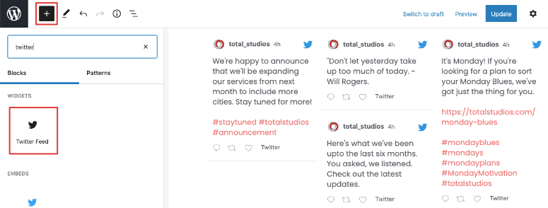custom twitter feed in page post