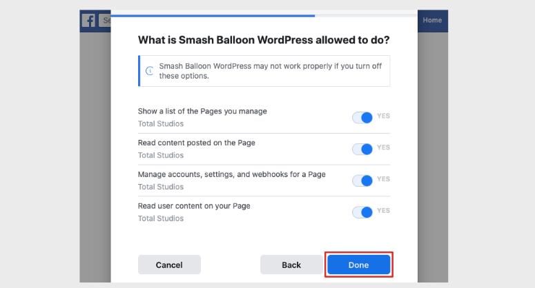 facebook permission smash balloon