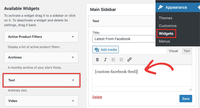 facebook sidebar widget smash balloon
