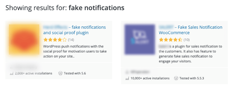 fake notification plugins