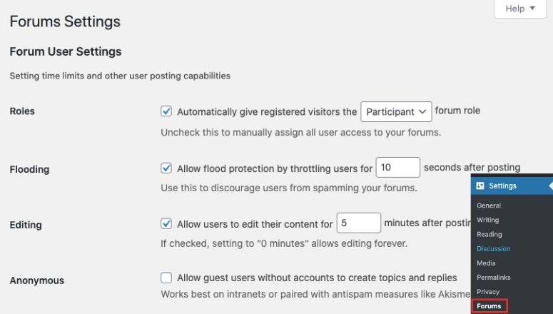 bbpress forum settings
