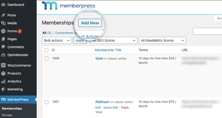 memberships in memberpress