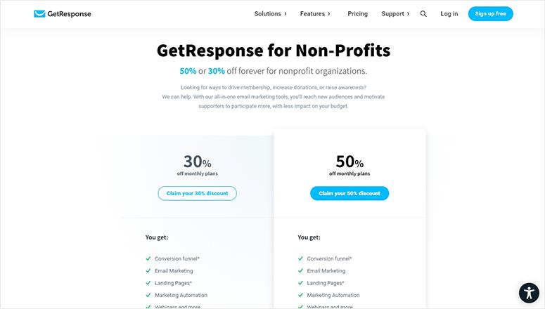 GetResponse nonprofit pricing