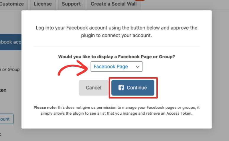 select facebook page smash balloon