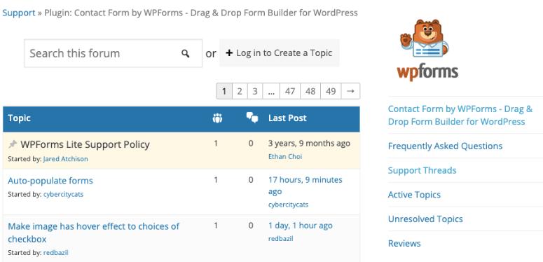 wordpress forum example