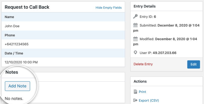 Add notes in wpforms