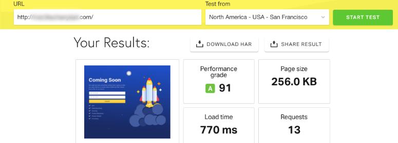 Speed test before WP Rocket