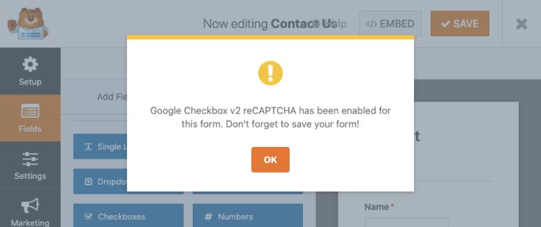 confirm captcha message