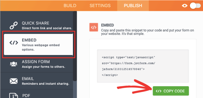 copy shortcode jotform