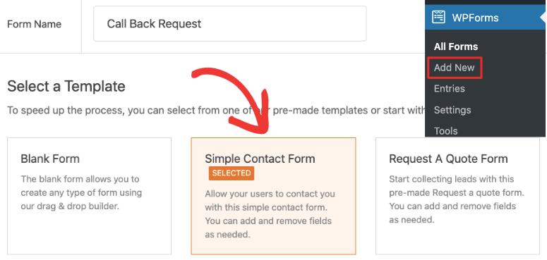 create callback request form