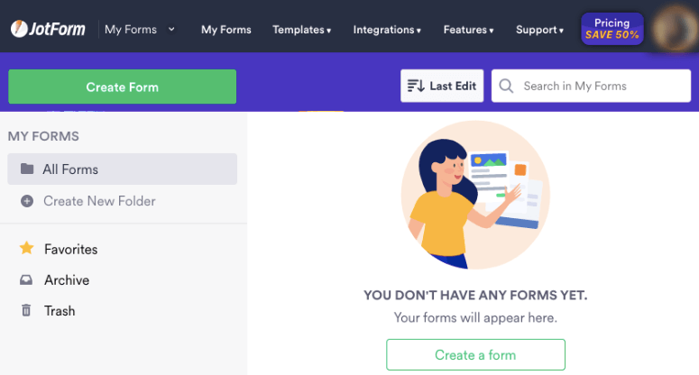 create form with jotforms