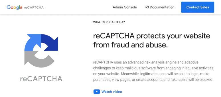 Google recaptcha homepage