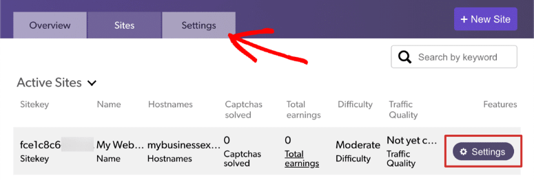 hcaptcha-settings secret key