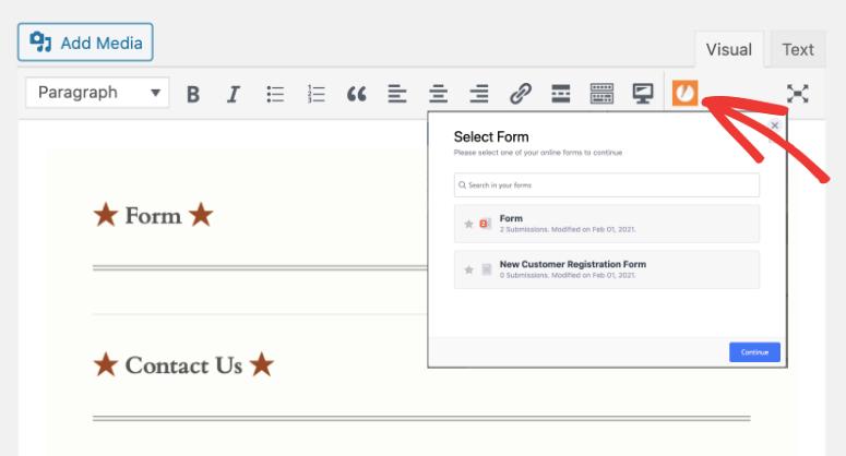 jotform icon in wp block editor