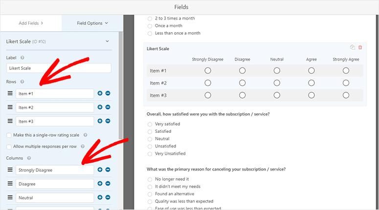 Likert scale options