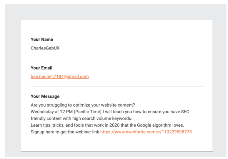 spam contact form submission example