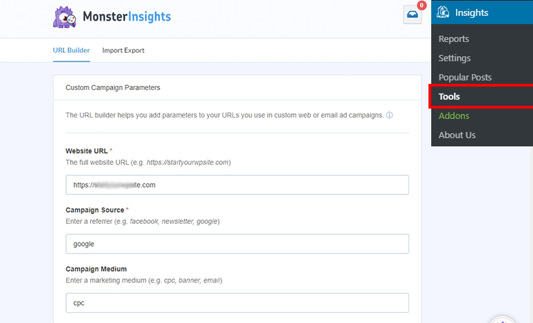 UTM URL builder