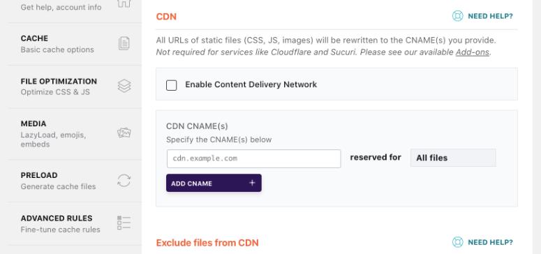 WP Rocket CDN integration