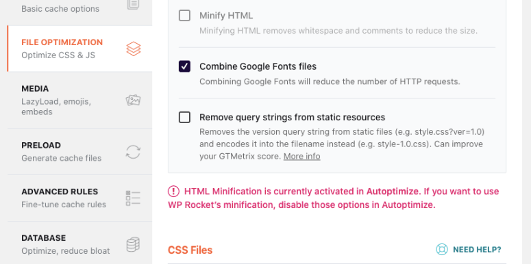 WP Rocket file optimization