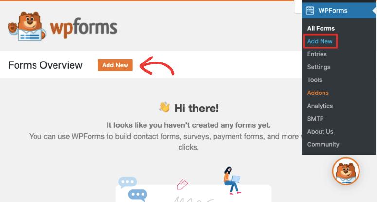 wpforms create a new form