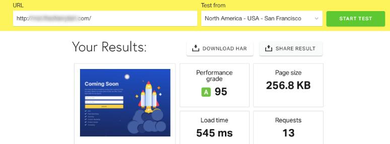 WP Rocket speed test