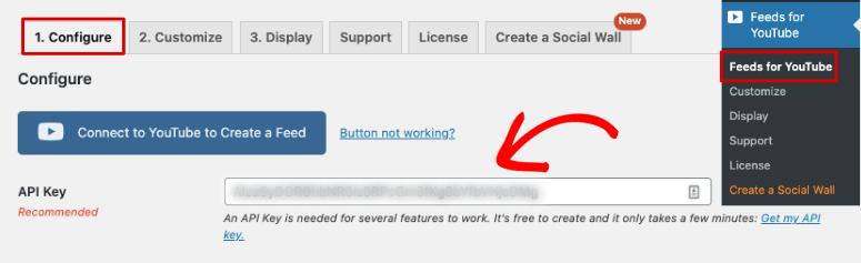 API key feeds for YouTube