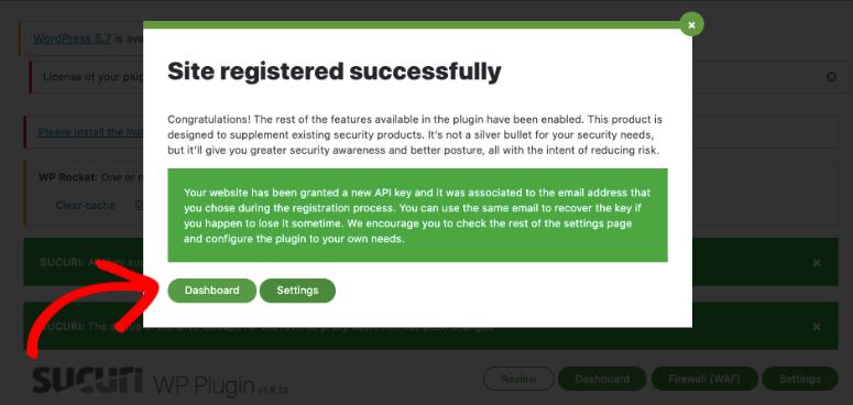 API successful in Sucuri