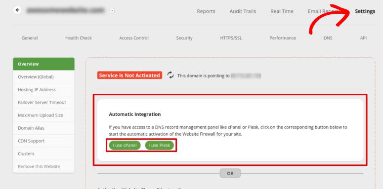 Automatic integration Sucuri firewall