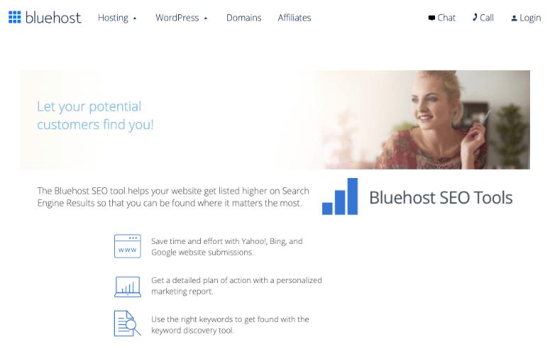 Bluehost seo tools homepage