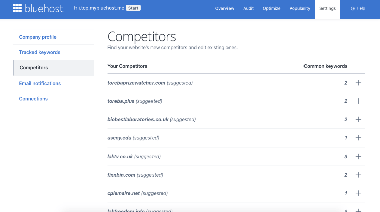 Competitor suggestions for Bluehost