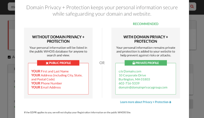 domain privacy comparison