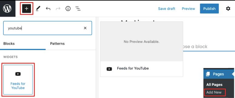 Feeds for YouTube block